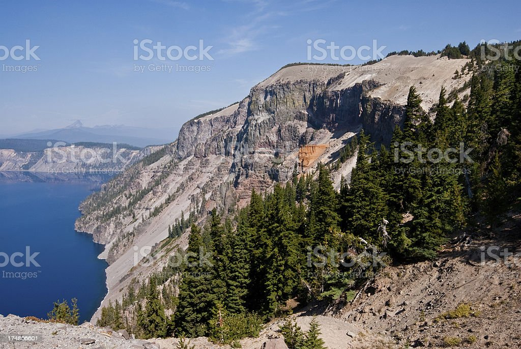 Crater Lake and Pumice Castle Rock Formation royalty-free stock photo