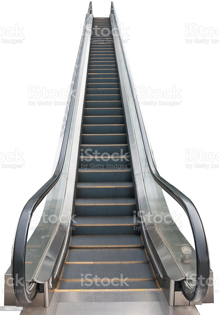 An escalator isolated on white stock photo