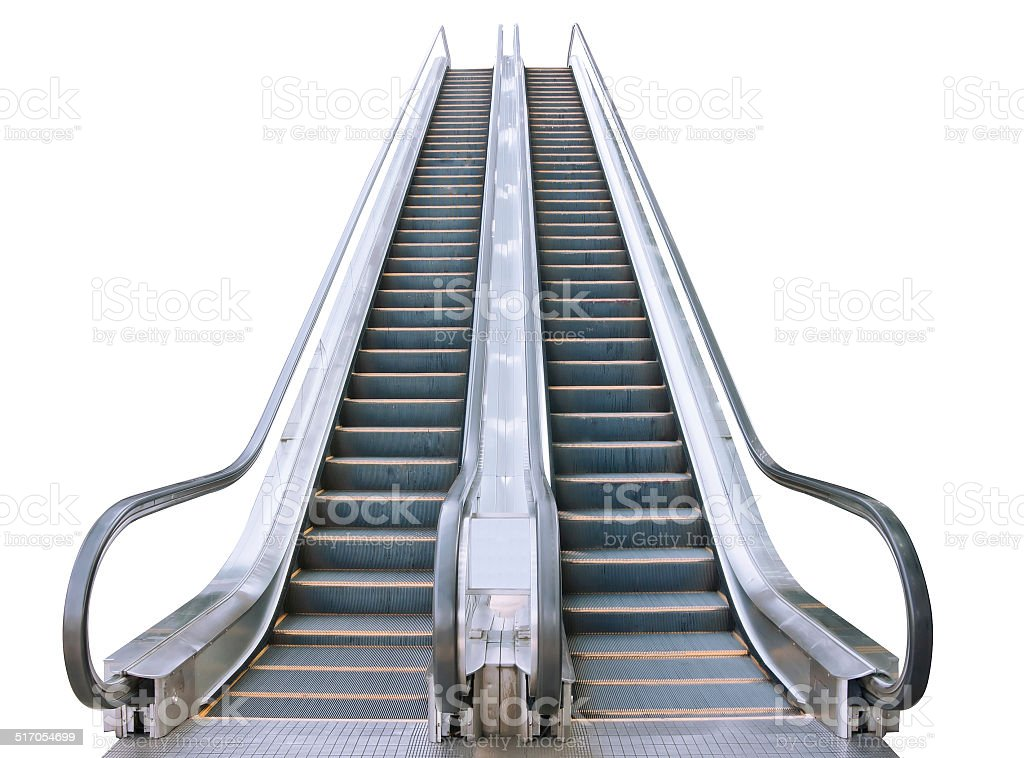 An escalator isolated on white stock photo
