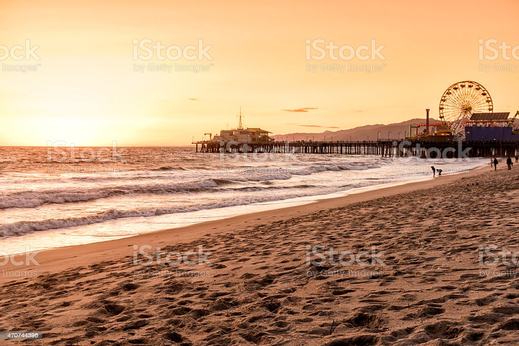 An evening shot of Santa Monica beach in Los Angeles, CA stock photo