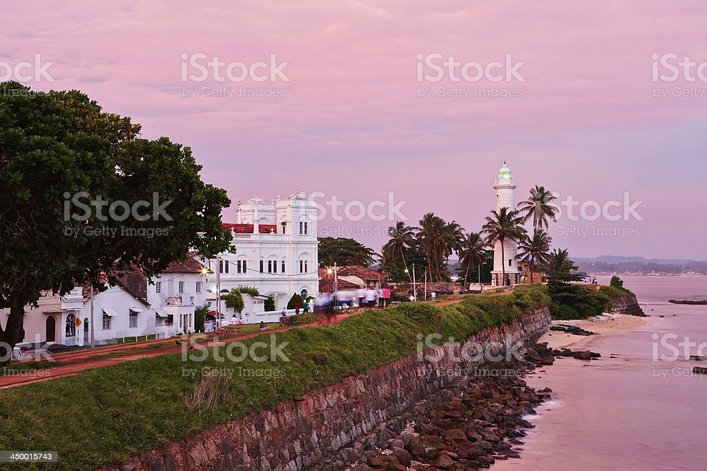 An evening view of Galle Fort as the sun has set stock photo