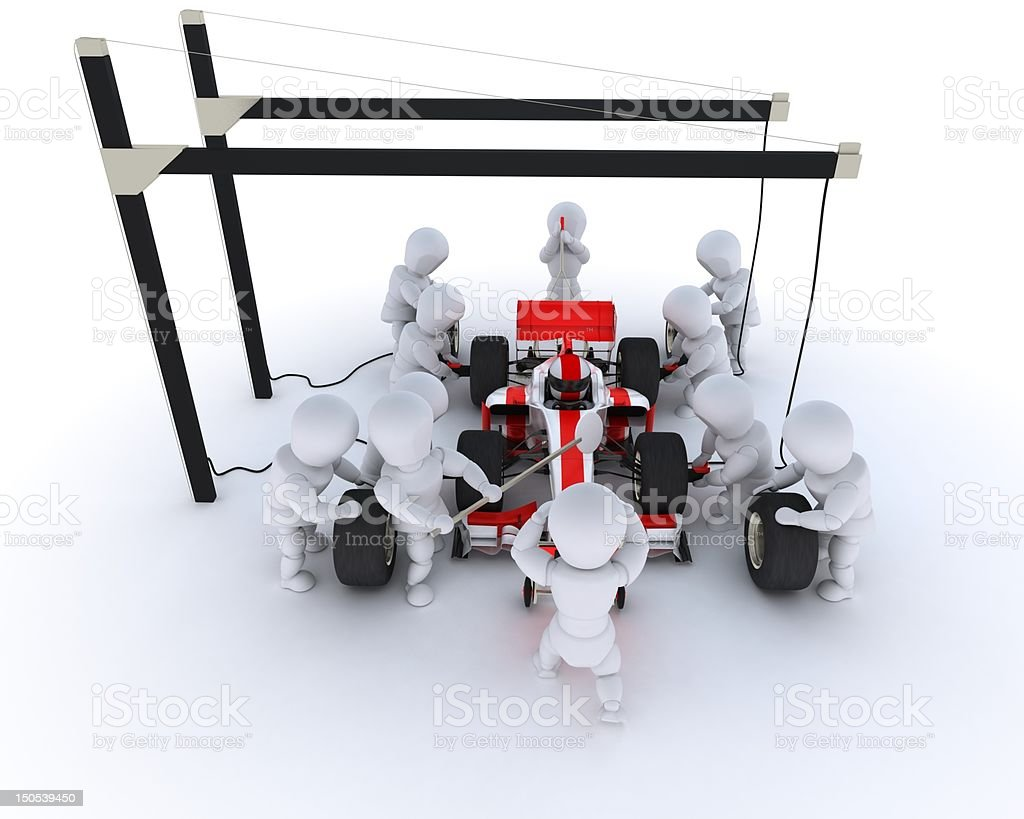 An example of a race car pit stop stock photo