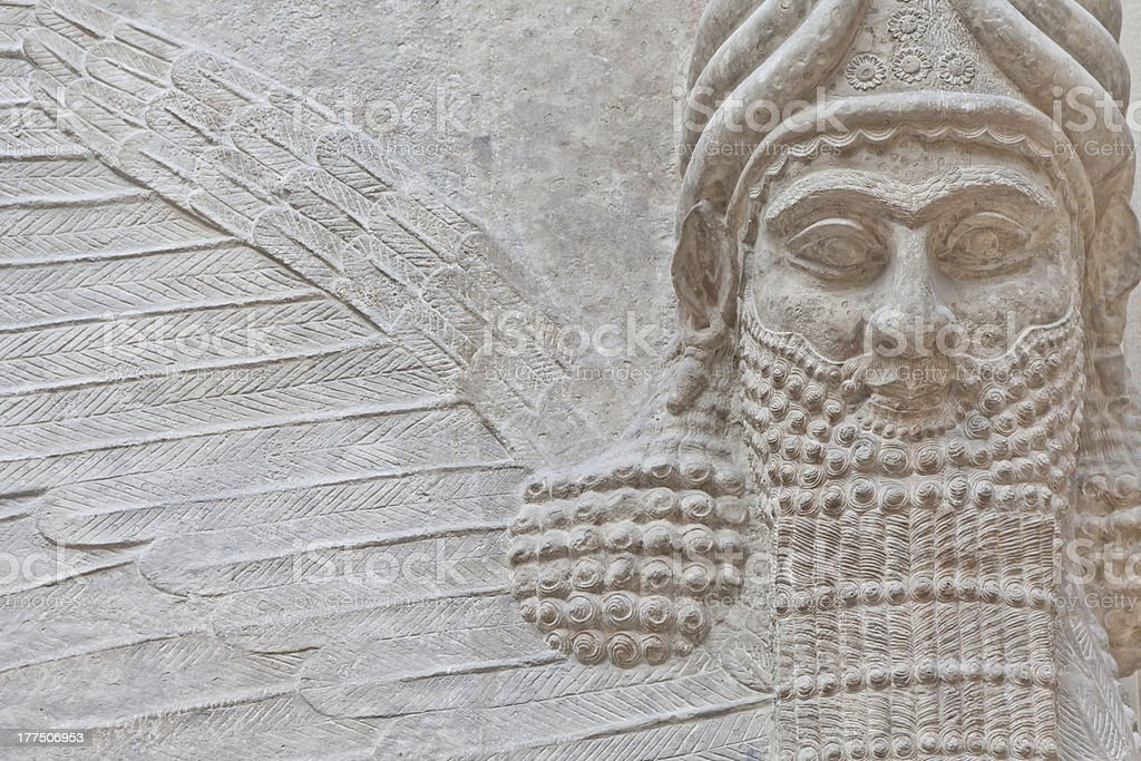 An example of Mesopotamian Art outside to be observed stock photo