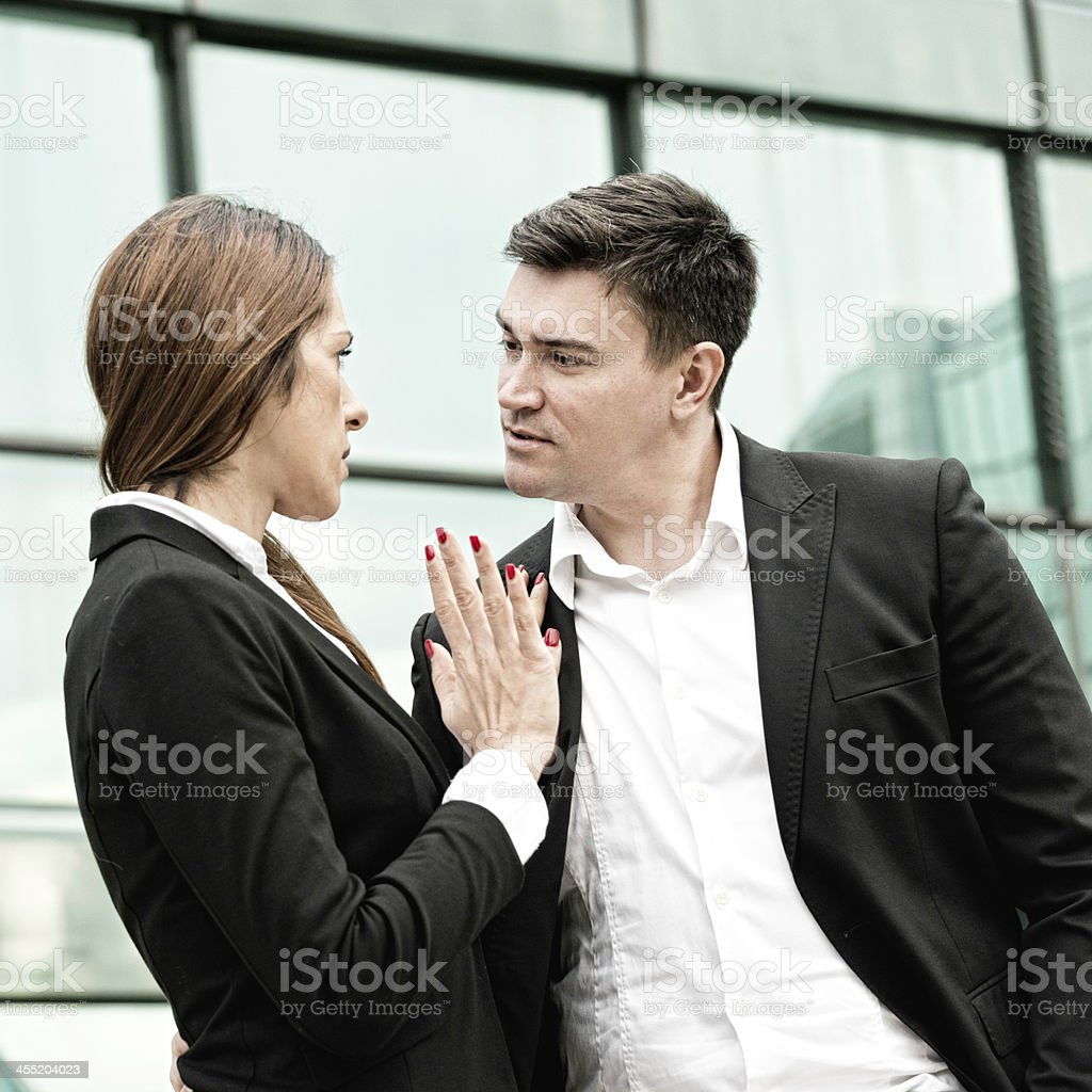 An example of sexual harassment at work stock photo