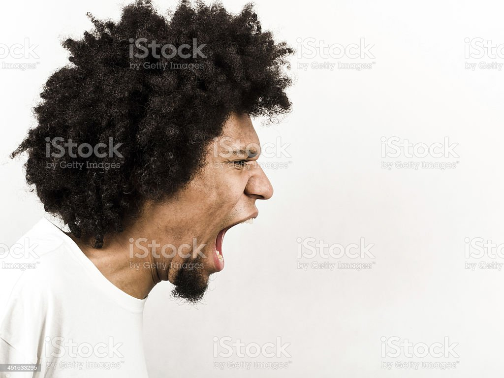 An expression of a man screaming stock photo
