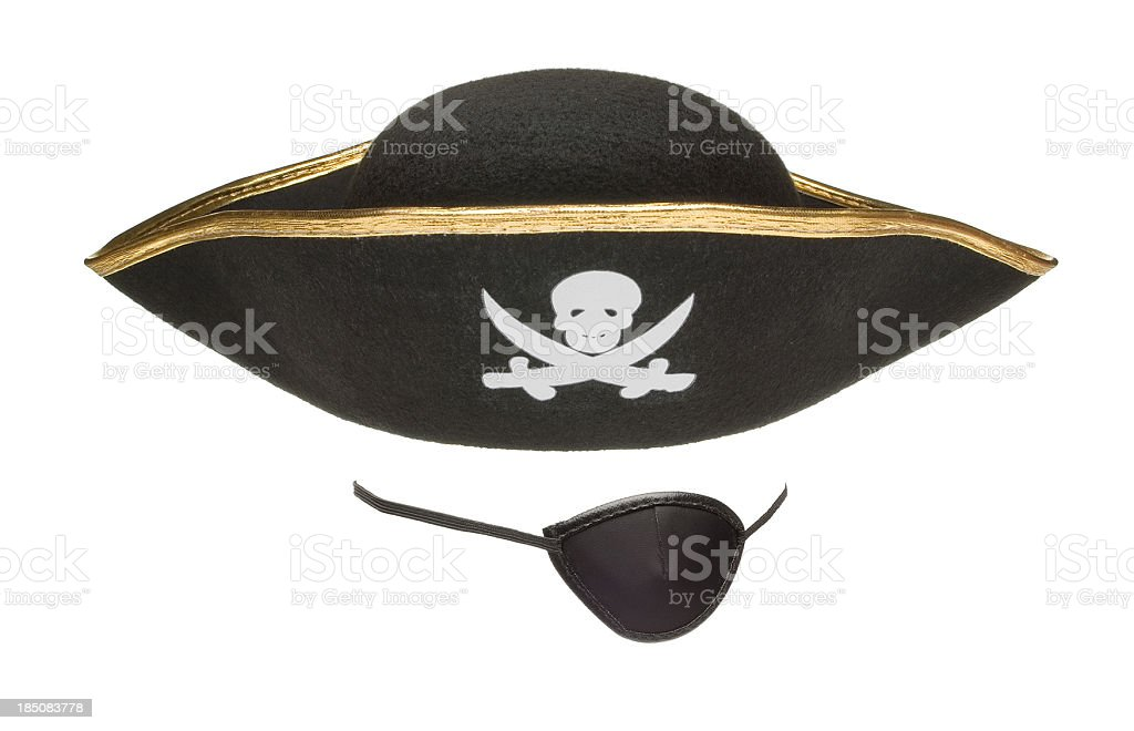 An eye patch and a pirates hat stock photo