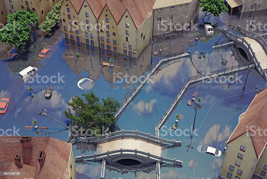 An flooding town stock photo