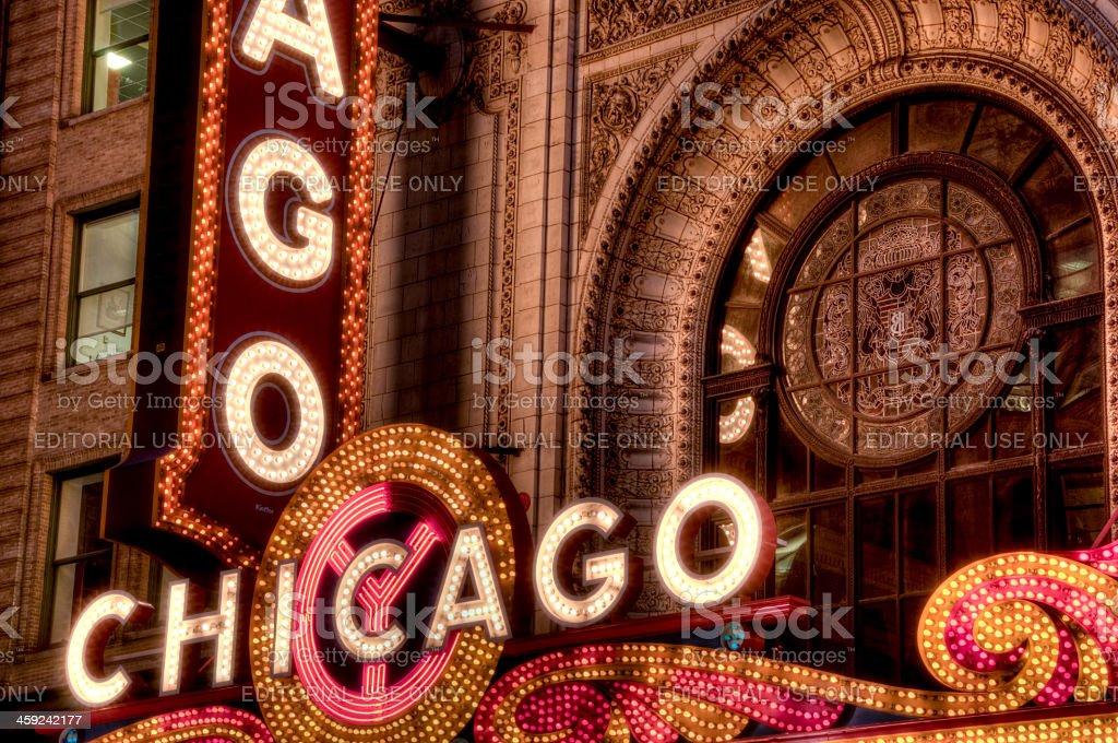 An HDR of the famous Chicago Theater Marquee royalty-free stock photo