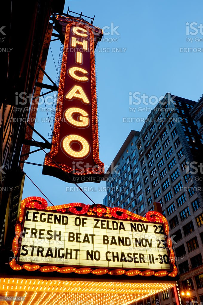 An HDR of the famous Chicago Theater sign at twilight royalty-free stock photo