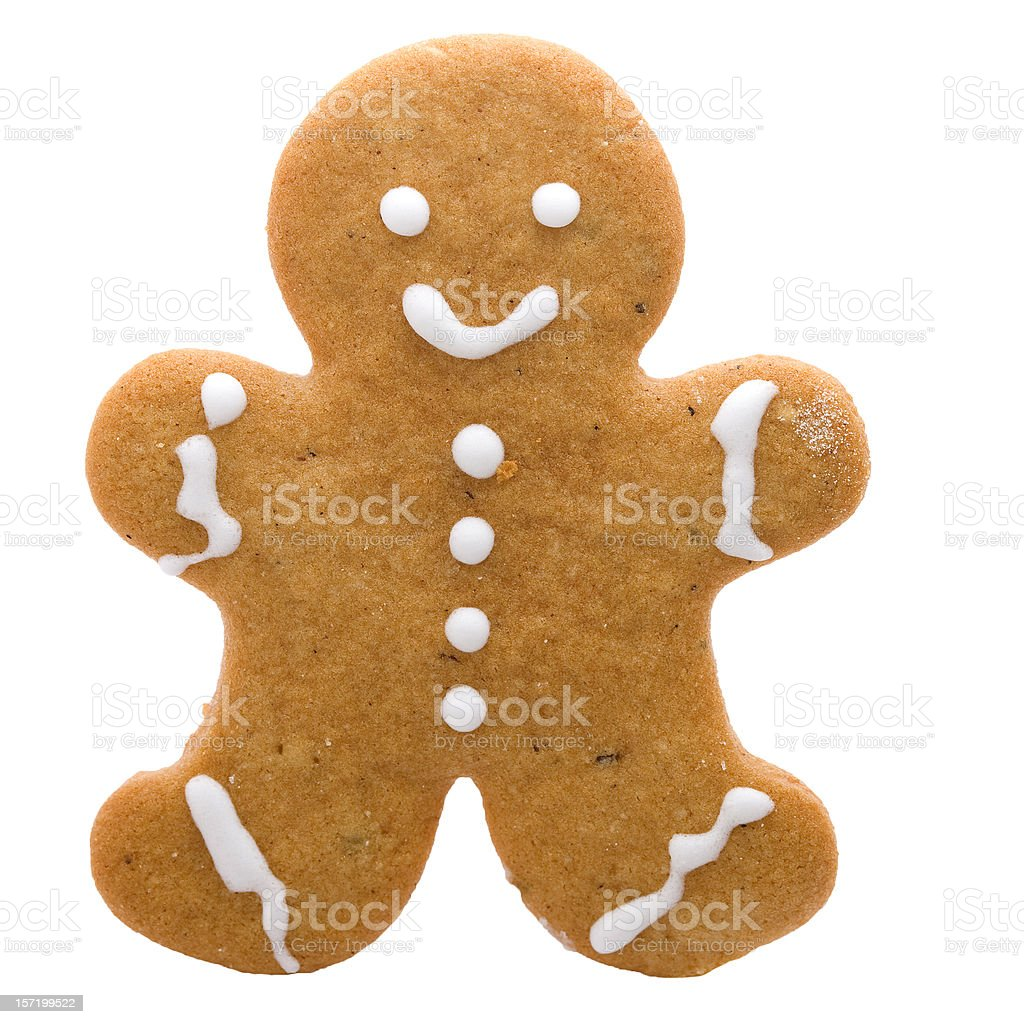 An iced gingerbread man on white stock photo
