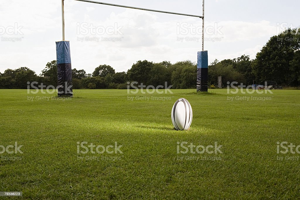An illuminated rugby ball on a rugby pitch stock photo