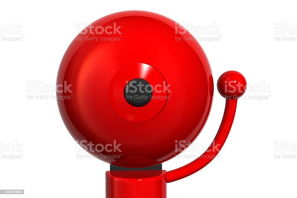An illustration of a big red bell on a white background stock photo