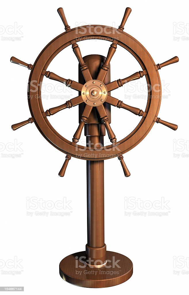 An illustration of a boat wheel made of wood stock photo