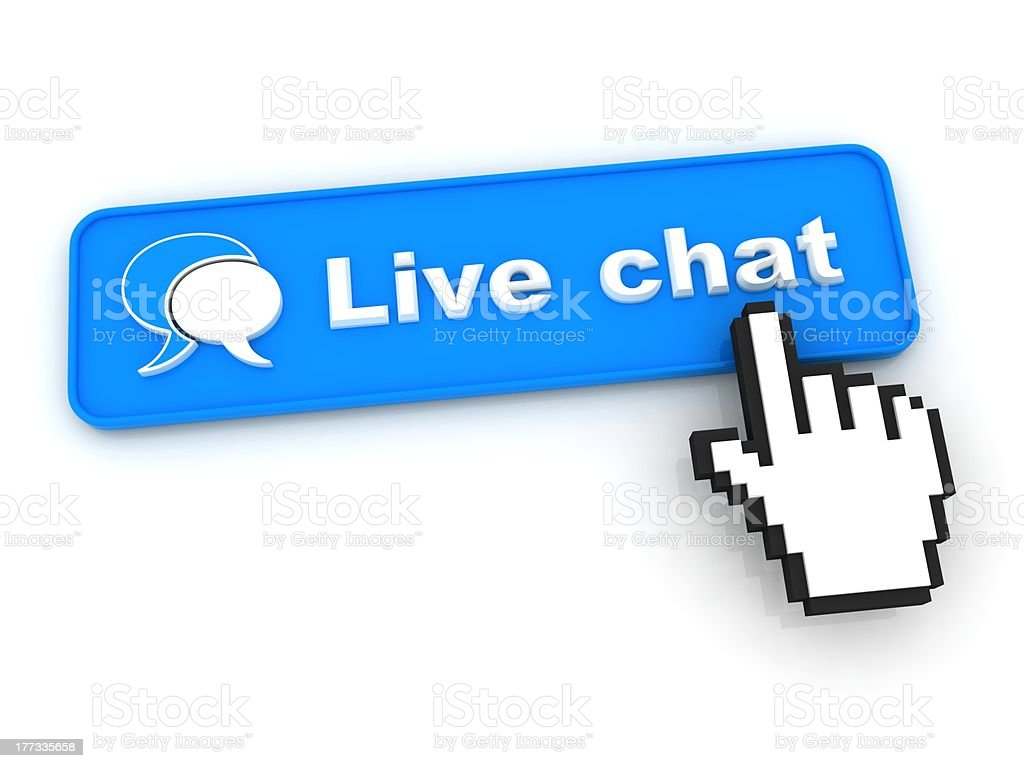 An illustration of a hand touching the live chat blue button stock photo