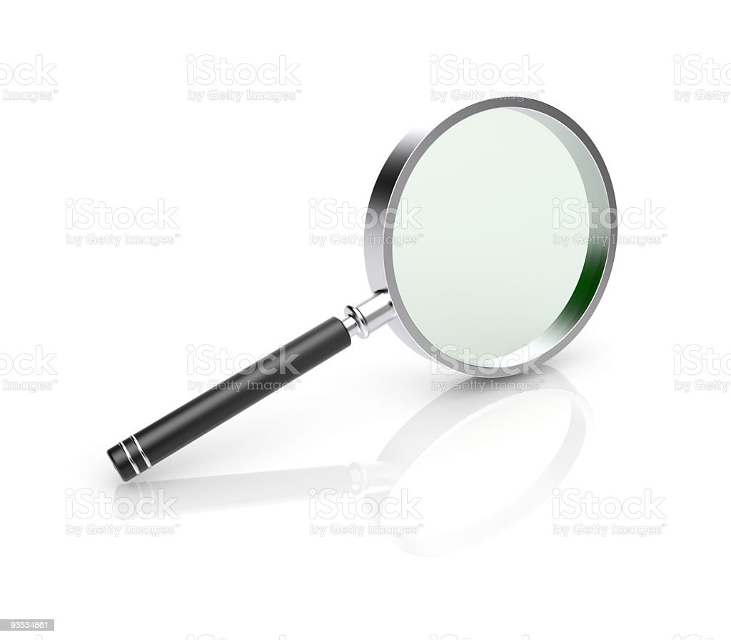 An illustration of a large magnifying glass on white royalty-free stock photo