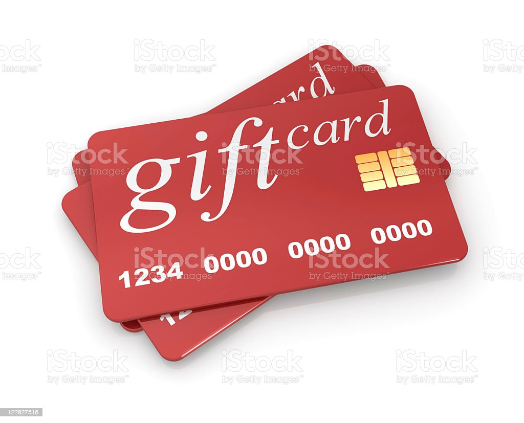 An illustration of a red gift card with micro chip  stock photo