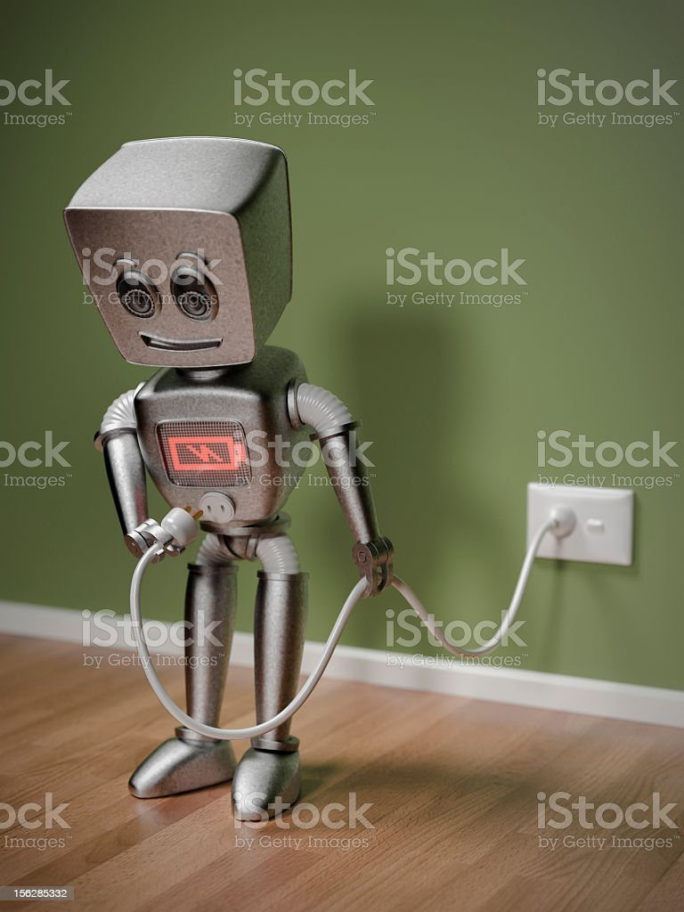 An illustration of a small robot recharging royalty-free stock photo