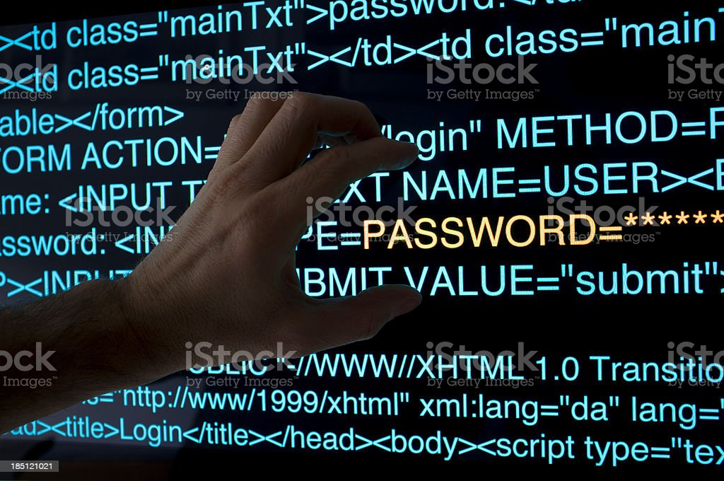An illustration of a stealing password concept stock photo