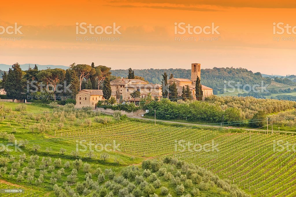 An illustration of a Tuscany farm stock photo