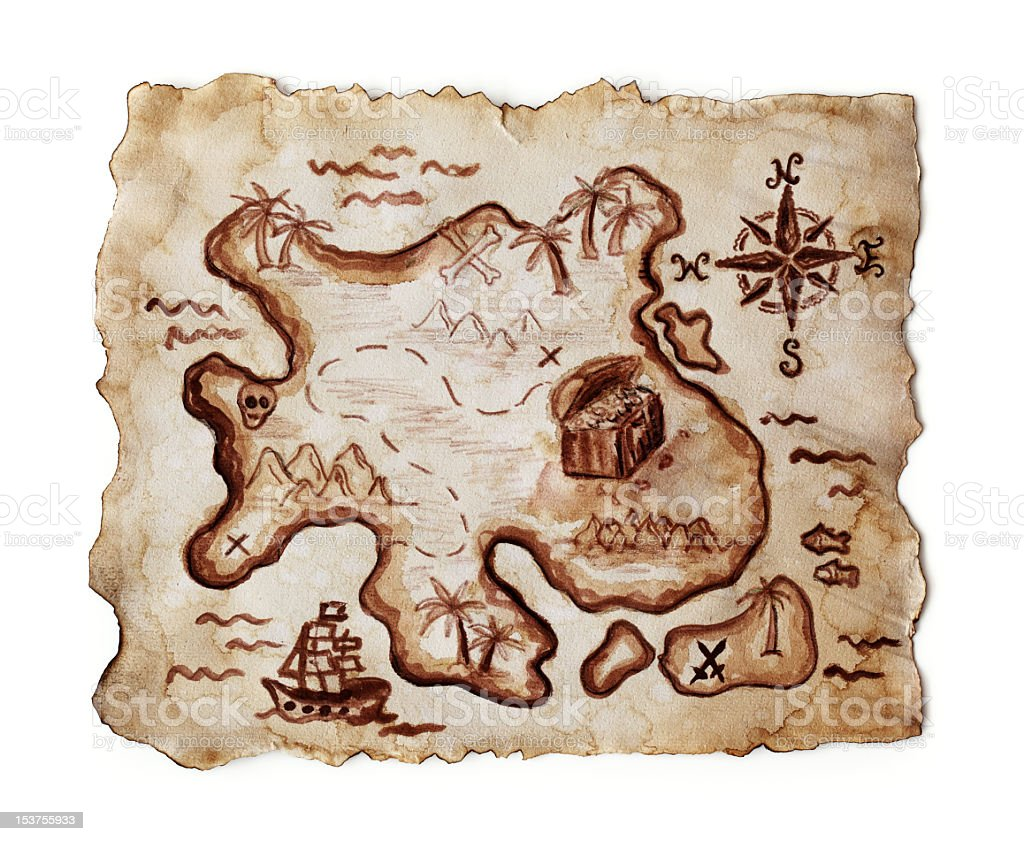 An illustration of an old treasure map stock photo