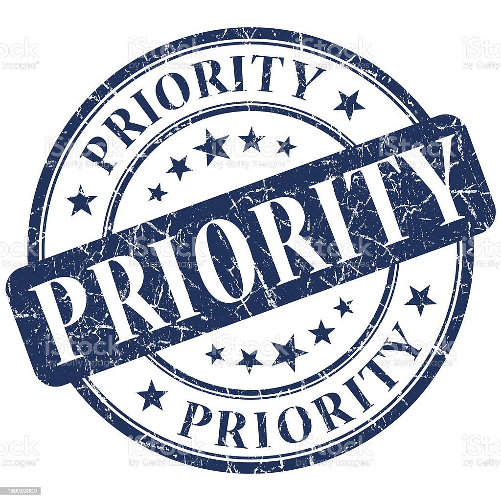 An illustration of blue priority stamp  stock photo