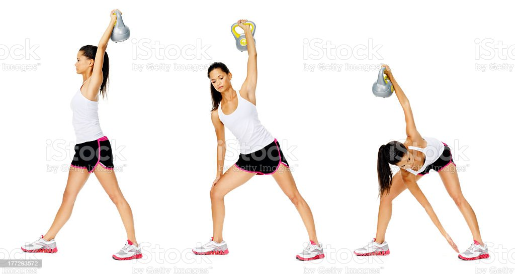 An illustration of how to do a kettlebell dumbell exercise stock photo