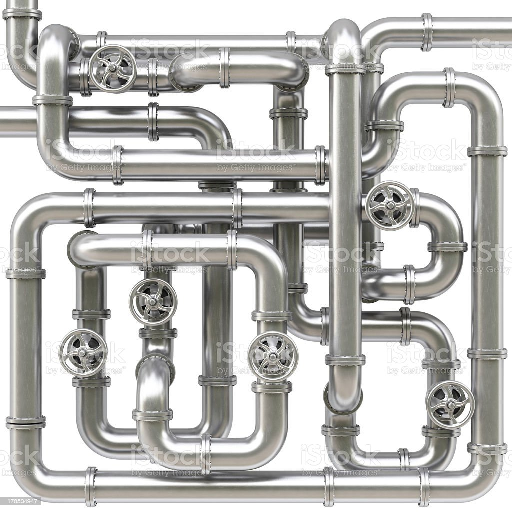 An illustration of metal pipes all connected stock photo