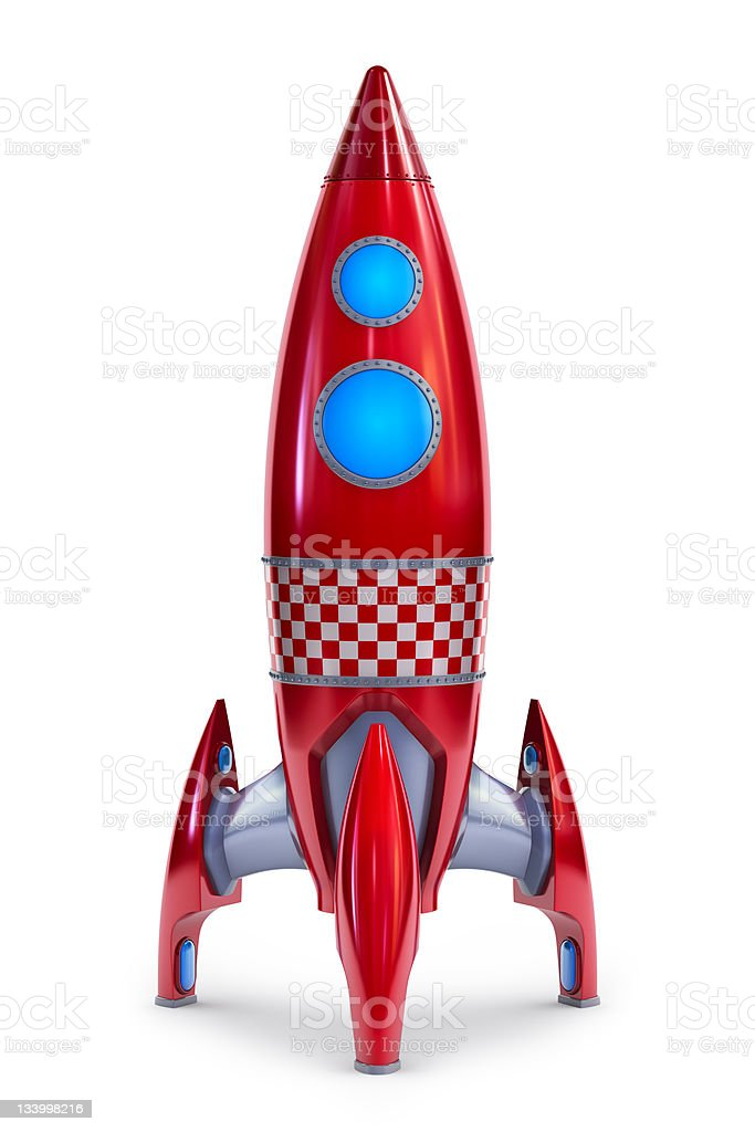 An illustration of modern red rocket  royalty-free stock photo