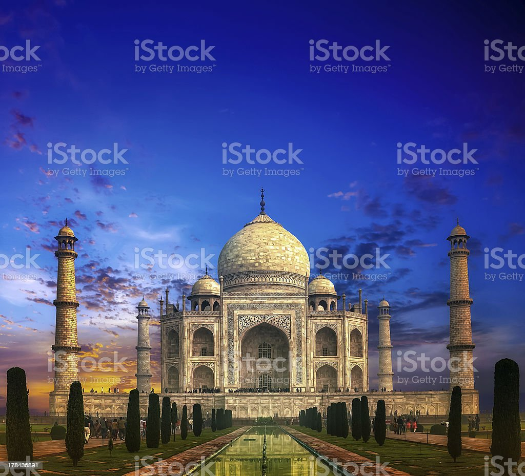 An illustration of Taj Mahal in Indian at sunset stock photo