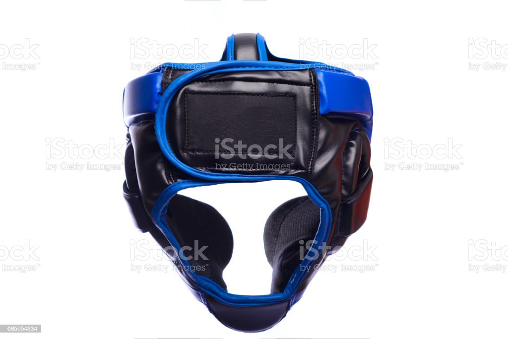 An image of a blue boxing helmet on a white background stock photo