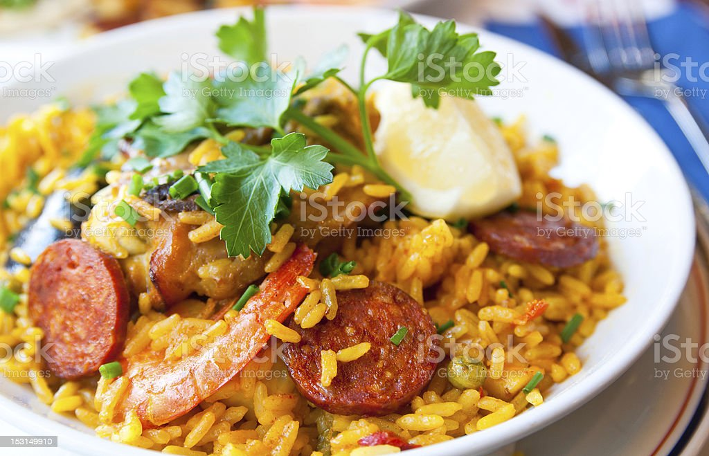 An image of a bowl of prawn rice stock photo
