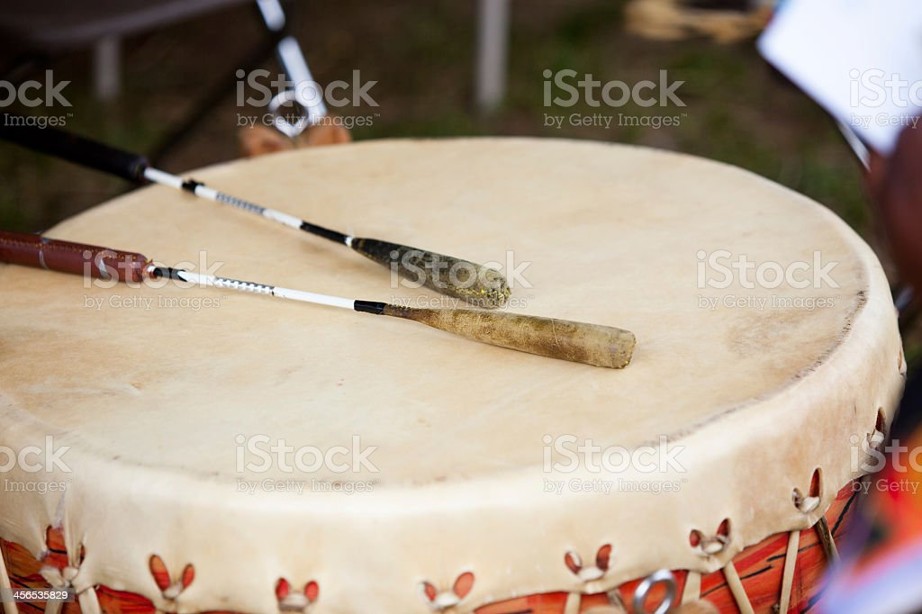 An image of a pow wow drum and sticks stock photo