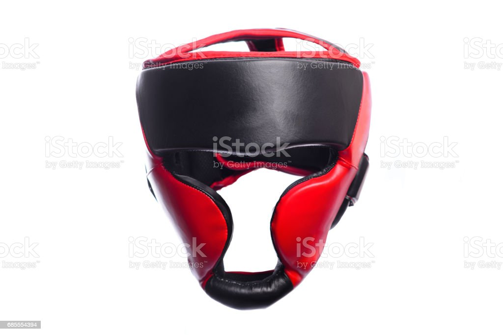 An image of a red boxing helmet on a white background stock photo