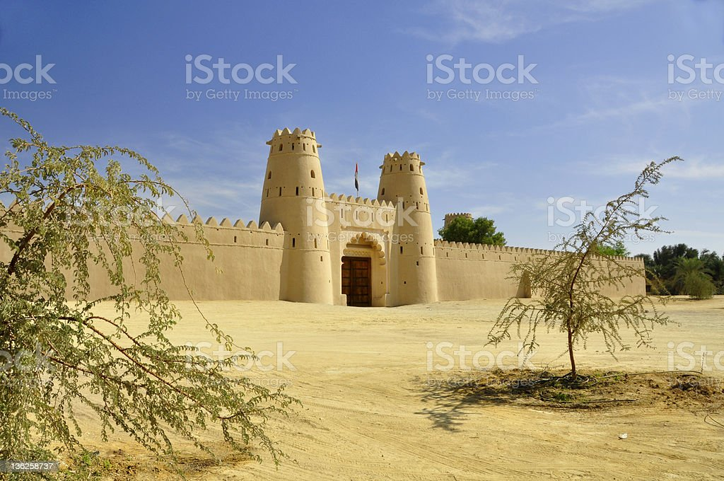 An image of a sand colored castle in Jahili Fort, Al Ain royalty-free stock photo