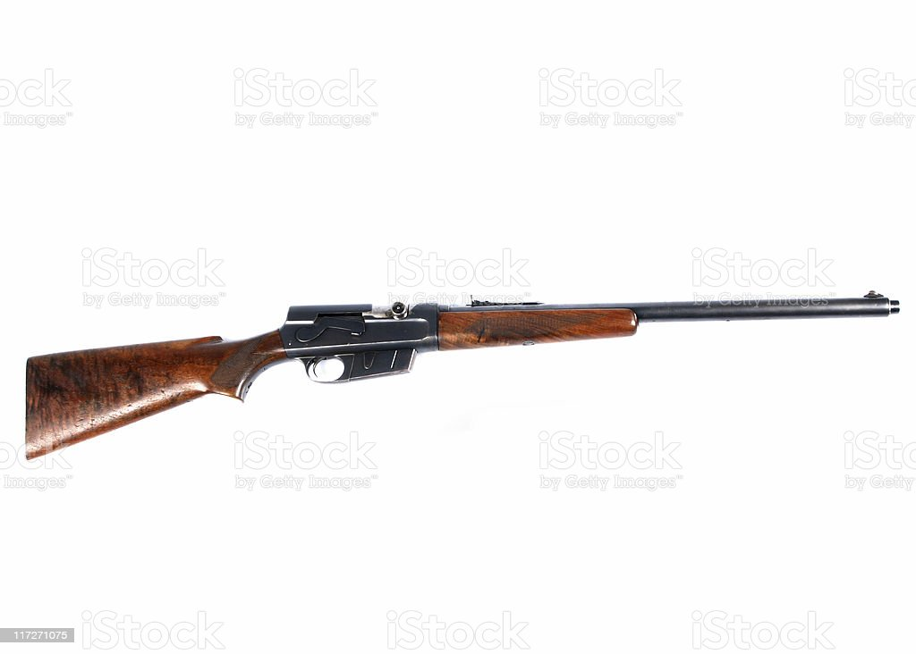 An image of a shot gun on a white background royalty-free stock photo