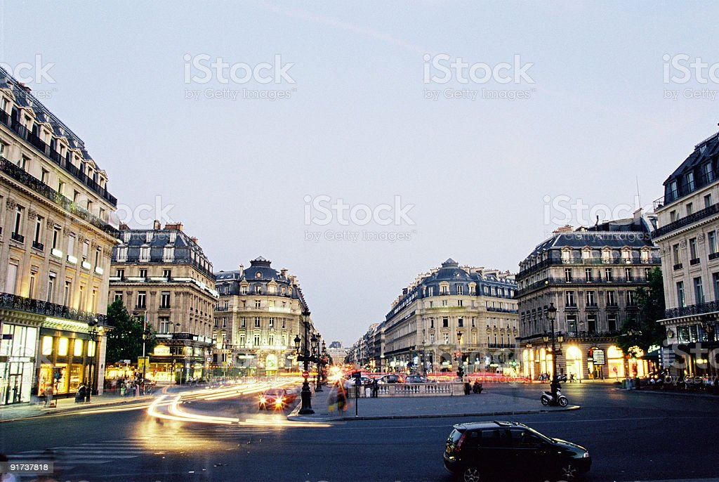 An image of the center of Paris France in the early hours stock photo