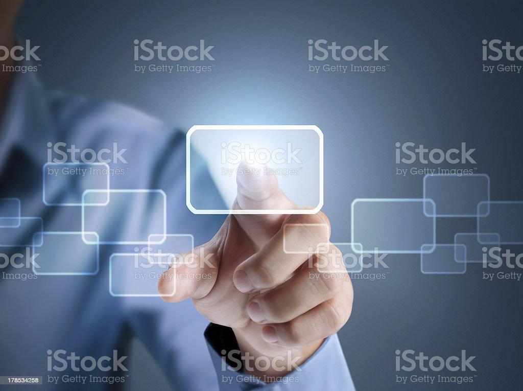 pressing a touchscreen button stock photo