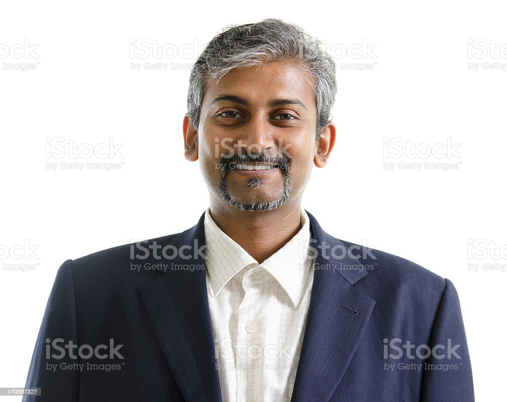 An Indian businessman isolated on a white background stock photo
