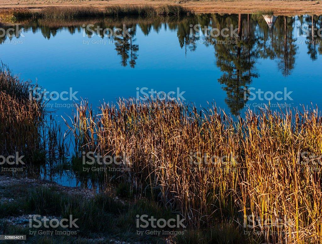 An Indian teepee mirrored in a lake near Bryce (Utah) stock photo