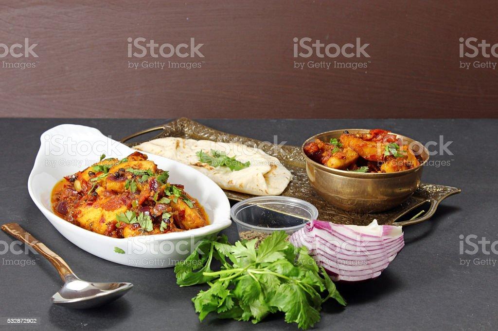 An Indian vegetarian meal. stock photo