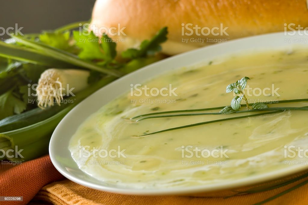 An Indian's favorite soup with a leave on top royalty-free stock photo