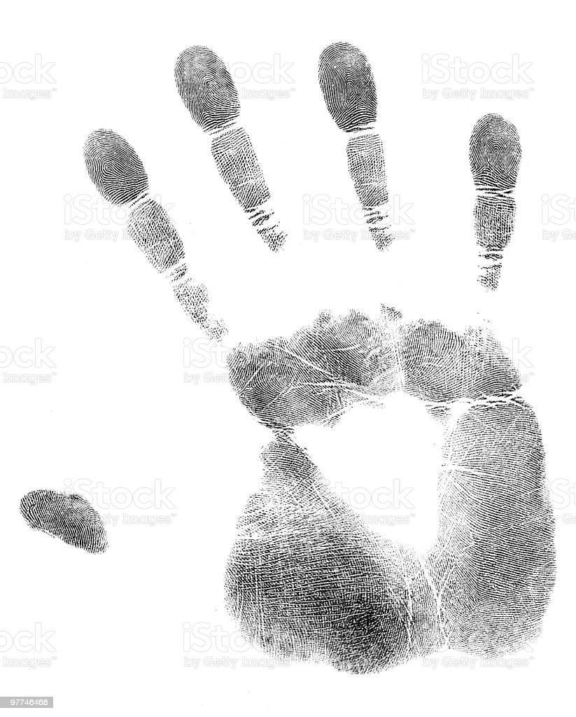 An inking of a hand print on white stock photo