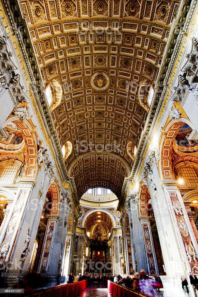 An inside view of to Vatican lit up stock photo
