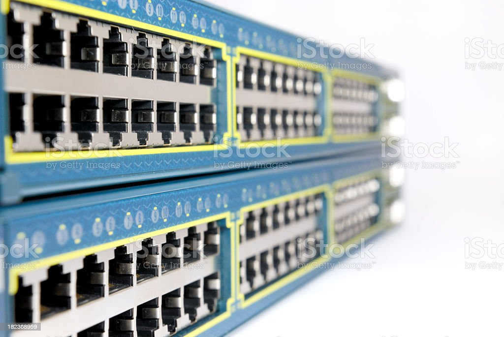 An installation with rows of ethernet ports stock photo