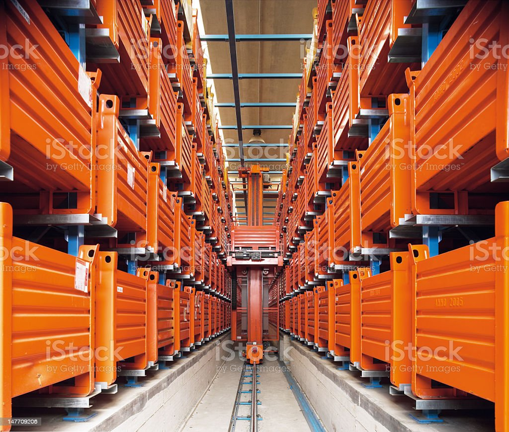 An interior of an automatic storehouse stock photo