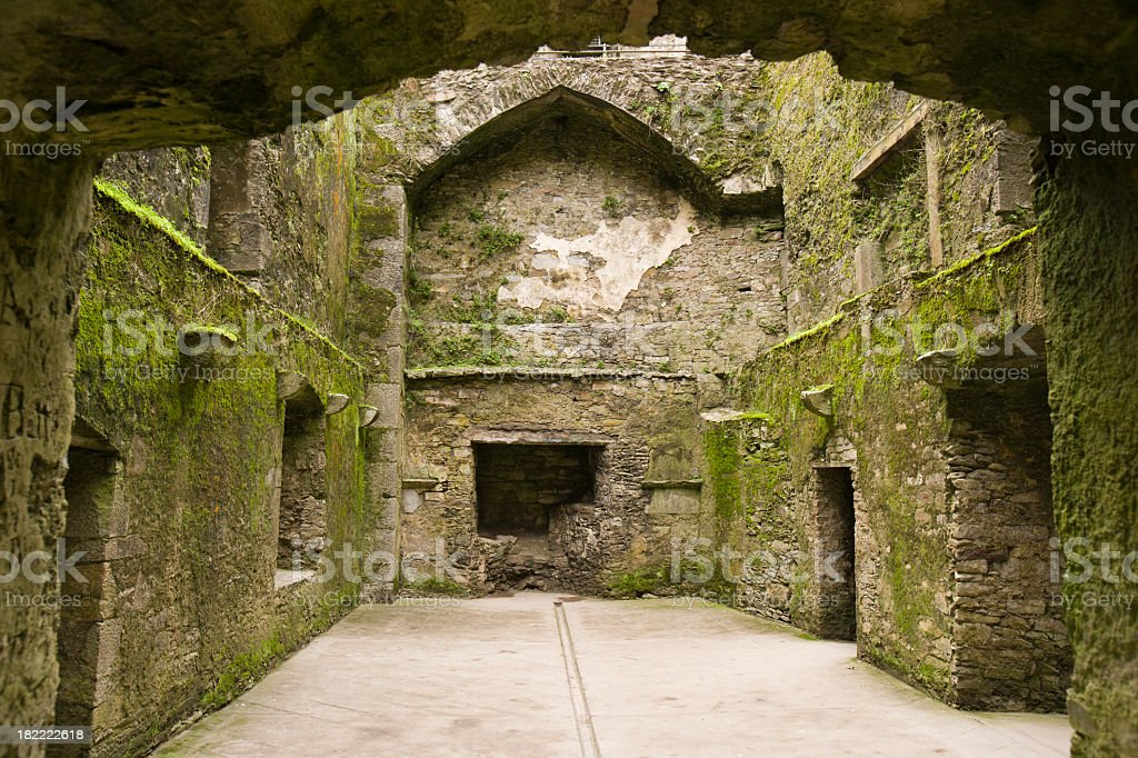 An interior room of a medieval Irish castle stock photo