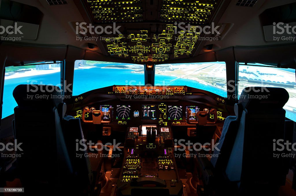 An interior shot of the cockpit stock photo