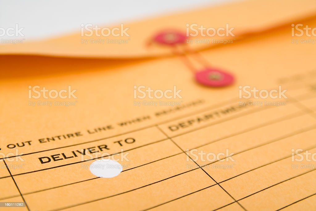 An interoffice envelope isolated on white stock photo