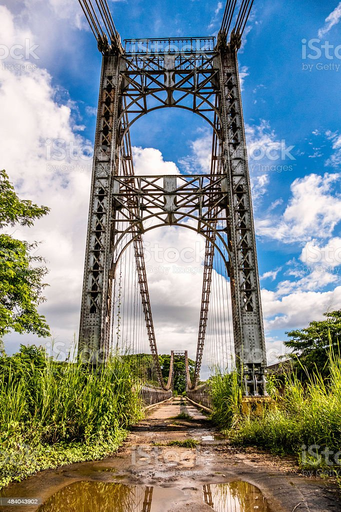 An iron bridge designed by the famous Gustave Eiffel stock photo