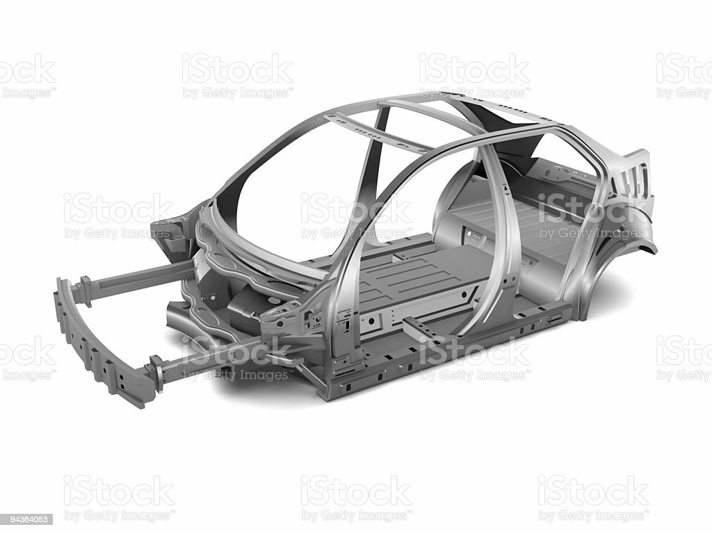 An isolated car chase on a white background royalty-free stock photo